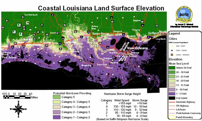 Louisiana Elevation Maps MAP